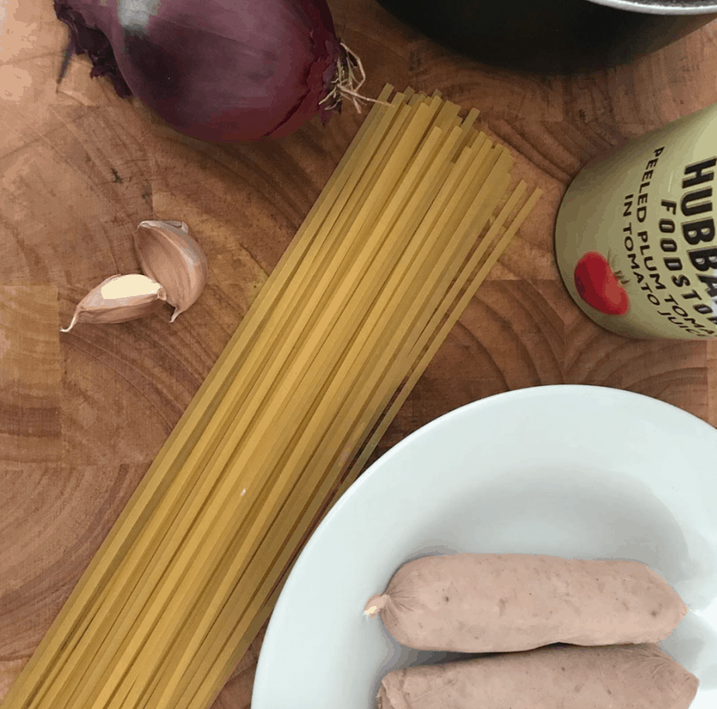 Raw Sausages And Linguinie
