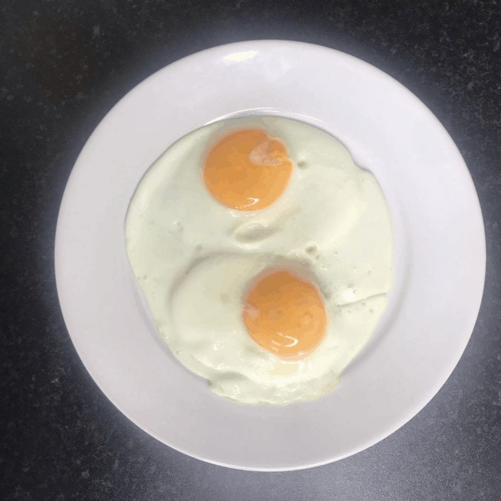 Two Soft Runny Fried Eggs